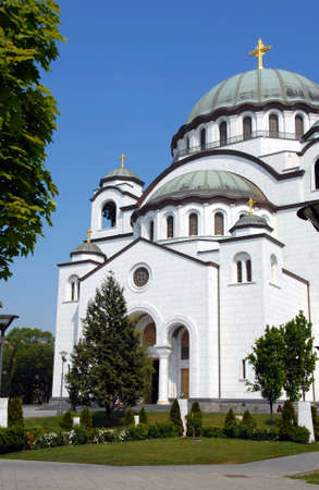 Sveti Sava cathedral over blue sky in Belgrade, Serbia photo