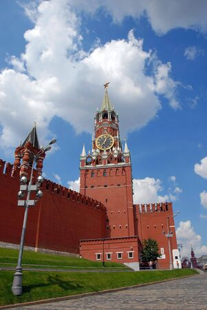 The Kremlin Spasskaya tower on Red Square in Moscow, Russia photo