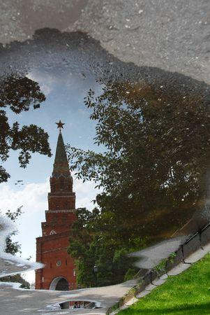 The Kremlin Borovitskaya tower, Moscow, Russia, mirrored in pool Stock Photo - 5637689