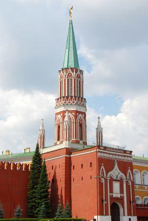 Kremlin Nikolskaya tower on Red Square in Moscow, Russia photo