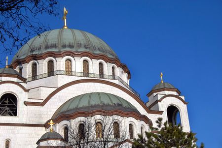 religiosity: Sveti Sava cathedral architecture details over blue sky