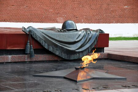 Tomb of the Unknown Soldier with burning flame Editorial