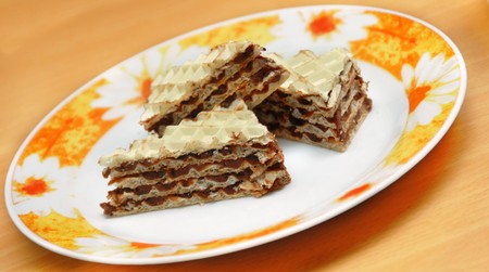 three pieces of sweet homemade wafer cakes photo