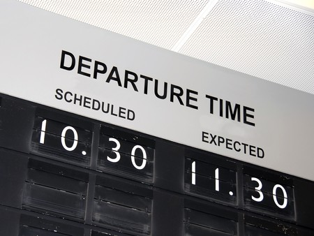 delay: Flight delay Stock Photo