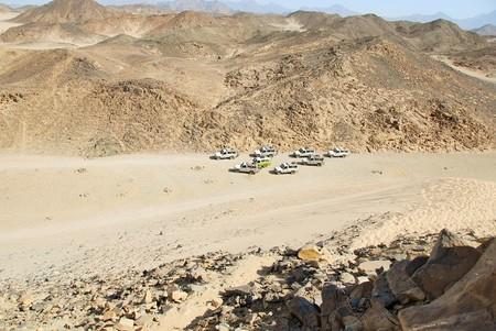 safari jeeps at Sahara dry desert by Hurghada, Egypt photo
