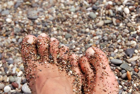 wet women toes on crossed feet in pebble closeup Stock Photo - 7548737