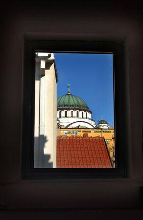 sveti: Sveti Sava cathedral building througn the window Stock Photo