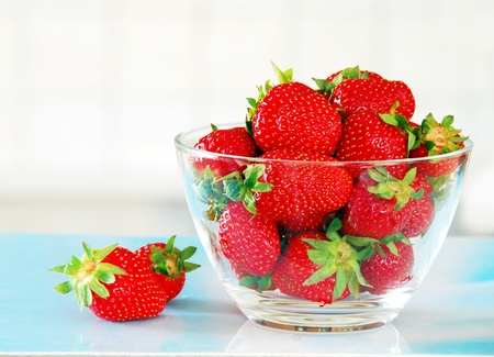 bawl: fresh appetizing red strawberries in glass bowl
