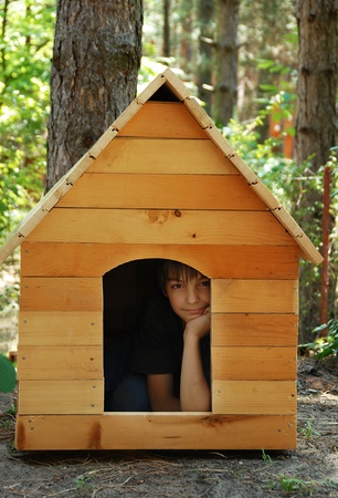 caucasian boy in small wooden dog house outdoor