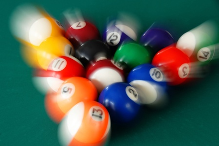 billiards hall: group of billiards balls moving in various directions