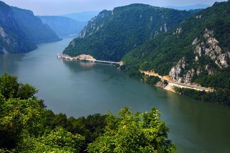 gorges: Danube valley Veliki Kazan on the Serbian-Romanian border Stock Photo