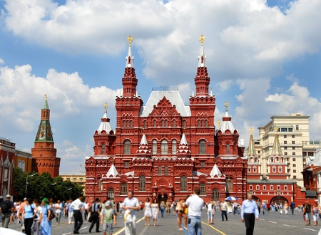 double headed: Building of Historical Museum on Red Square in Moscow, Russia