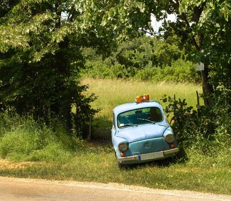 parked: honing in glazen potten te koop op de top van oude auto geparkeerd per land de weg op het platteland van Servië