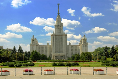 architectural studies: building Moscow state university Lomonosov in Russia