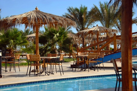 palms and tables by swimming pool at summer resort in Egypt Stock Photo - 10709024