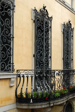 italian architecture: balcony and architectural details of building in Padua, Italy