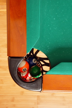 balls in billiards table leather pockets closeup from above photo
