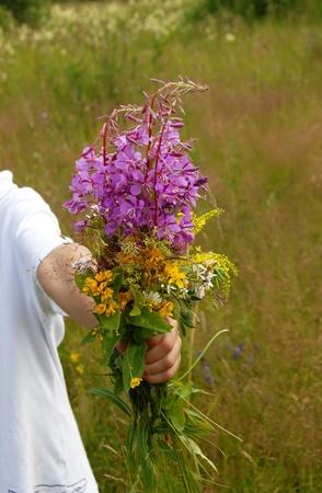 express positivity: various summer field flowers bouquet in boys hands
