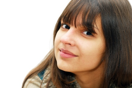 happy beautiful caucasian teenage girl portrait indoors photo