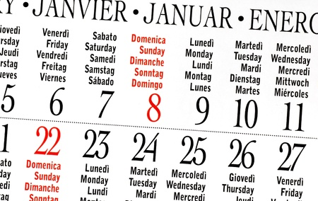 details of calendar of January 2012 photo