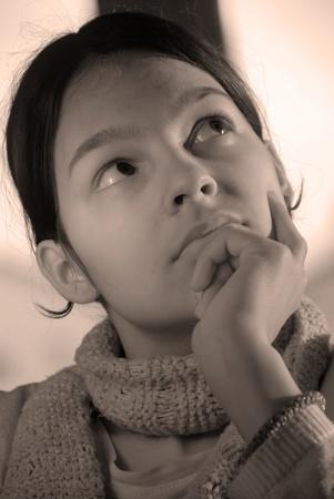 caucasian teen girl portrait black and white photo