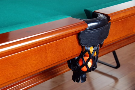 billiards cues: balls in billiards table leather pockets closeup