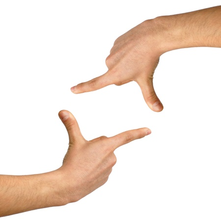 two isolated hands showing frame over white background Stock Photo - 13085255