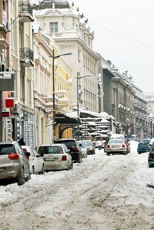 snow on Kralja Petra street in Belgrade at winter photo