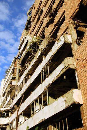 former yugoslavia: ministry of defense building in Belgrade damaged during the 1999 NATO bombing