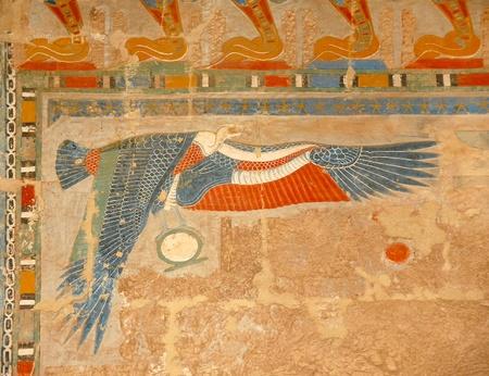 scribe: egyptian art, illustration of bird, on wall in Hatshepsut Temple Stock Photo