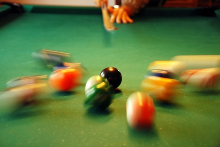 billiards tables: cue shooting at billiards balls movement indoor