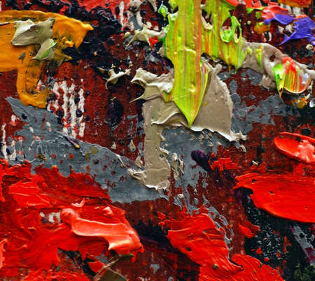 painterly: colorful oil painting texture closeup macro Stock Photo