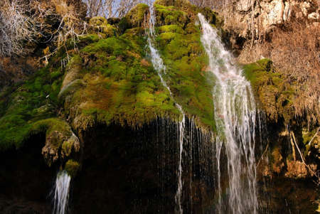 falling water stream over green moss at sunny day Stock Photo - 13662937
