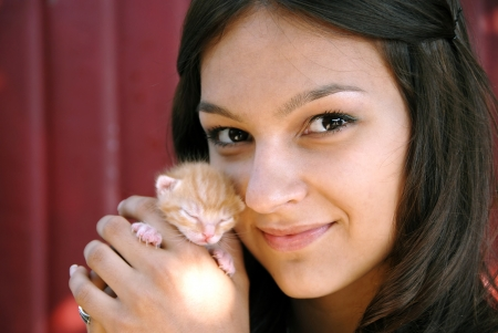 beautiful caucasian brunette teen girl portrait with a little kitty photo