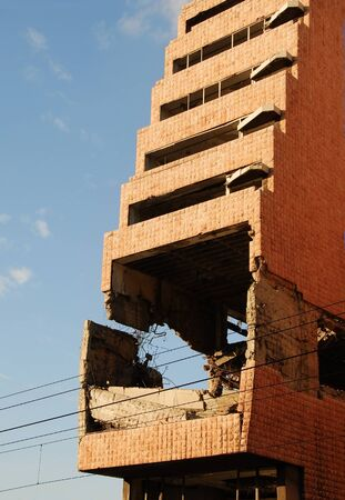 bombardment: ministry of defence building in Belgrade damaged during the 1999 NATO bombing