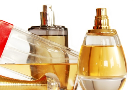 perfumes in glass bottles  photo