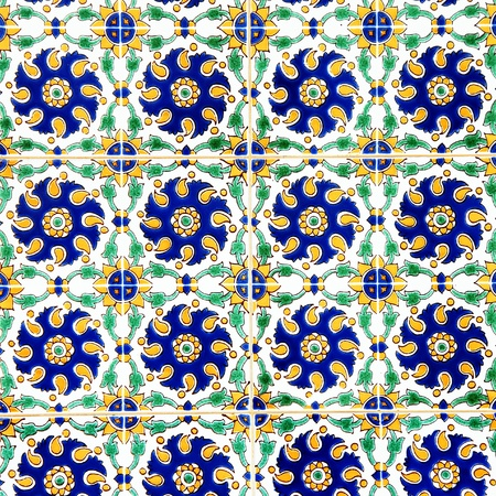 glazed: colorful floral oriental ceramic tiles abstract surface