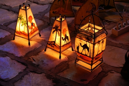 three lamps on street by souvenir shop in Tunisia Stock Photo - 15159044