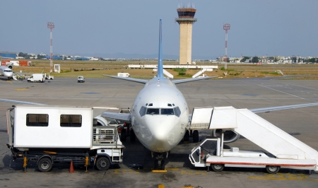 passenger airplane at airport in Tunisia preparing for flight