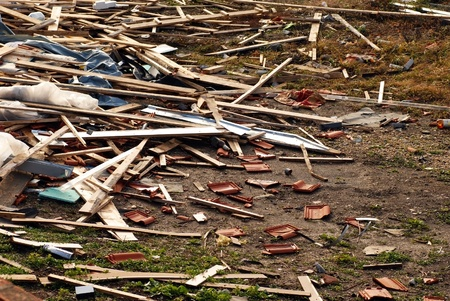 destruct: various construction waste scattered on construction site Stock Photo