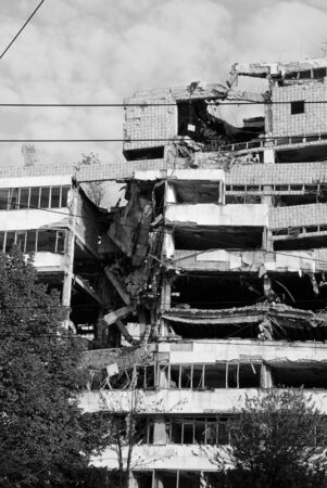 former yugoslavia: ministry of defence building in Belgrade damaged during the 1999 NATO bombing