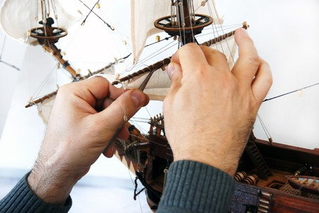 wooden handmade: making details of wooden handmade boat closeup