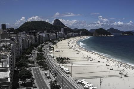 Beautiful view of Copacabana beach and Leme in Rio de Janeiro Brazil