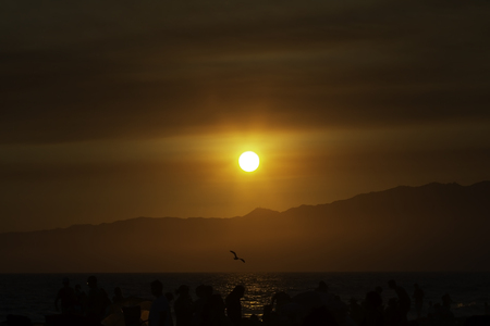 Beautiful sunset over Santa Monica beach mountains in Los Angeles California Stock fotó