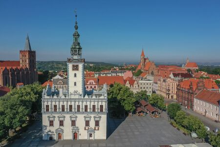 Aerial view of the Town Hall in the medieval town in Europe