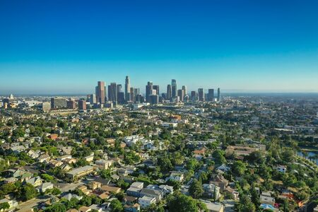 Drone shot of downtown Los Angeles in California Stock fotó