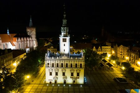 Night aerial view of a town square in the medieval town in Europe Reklamní fotografie