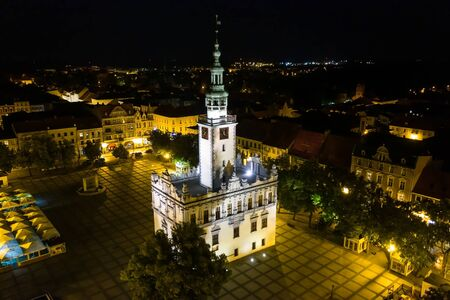 Night shot of a renaissance Town Hall in the middle of a town square Stock fotó