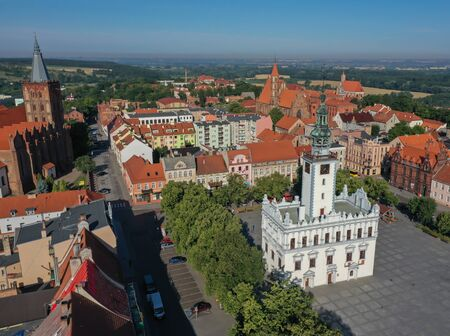 Drone view of an Old Town with churches in the background