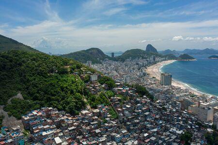 Aerial view of favelas on the hills of Rio de Janeiro Brazil Stock Photo
